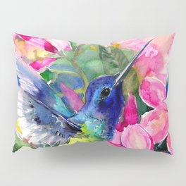 Hummingbird and Plumeria Florwers Tropical bright colored foliage floral Hawaiian Flowers Pillow Sham