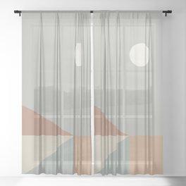 Geometric Landscape 02 Sheer Curtain