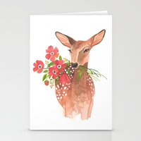 oana befort Stationery Cards featuring Lovely Deer by Oana Befort