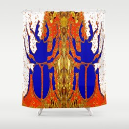 Lapis Blue Beetle on Gold Shower Curtain