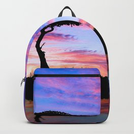 Lonely Tree And Giraffes Silhouette In African Savannah At Sunset Ultra HD Backpack
