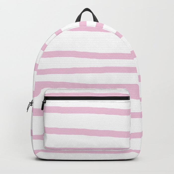 Simply Drawn Stripes in Blush Pink on White Backpack