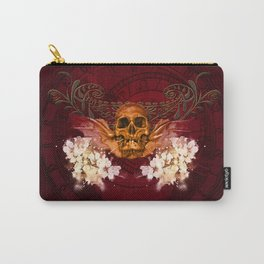 Amazing skull with flowers Carry-All Pouch