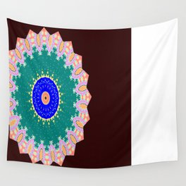 Lovely Healing Mandala  in Brilliant Colors: Brown, Pink, Sunset Orange, Teal, Cream, and Royal Blue Wall Tapestry