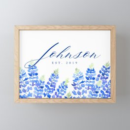Johnson family sign with Texas bluebonnets (Message me for a different family name and date) Framed Mini Art Print