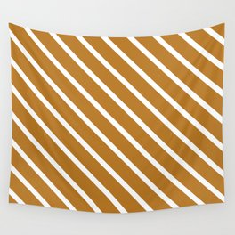 Peanut Butter Diagonal Stripes Wall Tapestry