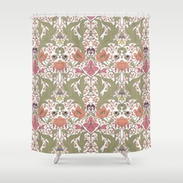 Spring Pattern with Poppy Flowers and Gladioli Shower Curtain