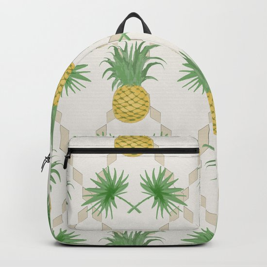 Exotic tropical seamless pattern with palm branches and pineapples . Backpack