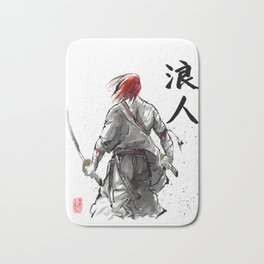 Samurai Red Haired Ronin with calligraphy Bath Mat