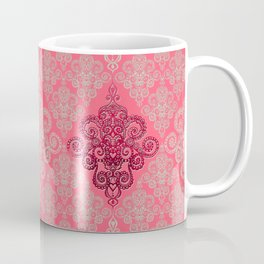 red&grey Baroque Pattern on gentle raspberry Coffee Mug