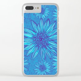 Winter Daisies in ice blue Clear iPhone Case
