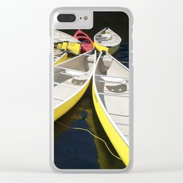 Tethered Yellow Canoes at Lost Lake in Whistler British Columbia Clear iPhone Case