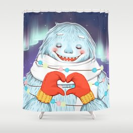 Yeti in love Shower Curtain