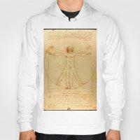 da vinci Hoodies featuring  Leonardo da Vinci, Vitruvian Man by Mirakyan