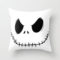 jack skellington Throw Pillows featuring Skellington by Canis Picta