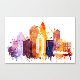 Charlotte Skyline, Skyline Print. North Carolina Landscape Poster Canvas Print