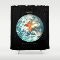 earth Shower Curtains featuring Earth by Terry Fan
