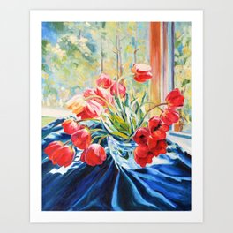 Morning tulips Art Print