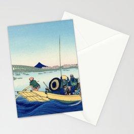 Katsushika Hokusai - 36 Views of Mount Fuji (1832) - 12: Sunset across Ryōgoku bridge, Onmayagashi Stationery Cards