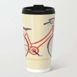 Flower Basket Bicycle Illustration Metal Travel Mug