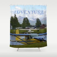otters Shower Curtains featuring ~ ADVENTURE ~ by Alaskan Momma Bear