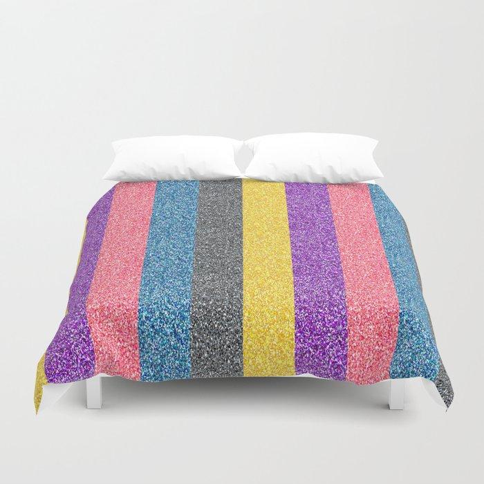 Multi Color Glitter Striped Pattern Duvet Cover