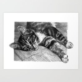Resting Kitty G064 Art Print