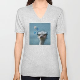 Ostrich and Balloons Whimsical Photo Unisex V-Neck