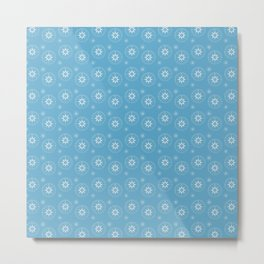Blue Compass Pattern Metal Print