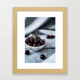 Bowl of Sweet Cherries Framed Art Print