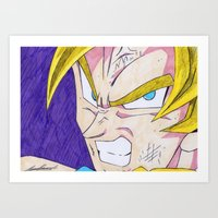 dbz Art Prints featuring Goku DBZ by DeMoose_Art