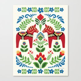 Swedish Dala Horses Red Canvas Print