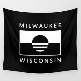 Milwaukee Wisconsin - Black - People's Flag of Milwaukee Wall Tapestry