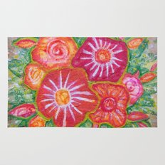 Orange Fantasy Flowers Rug