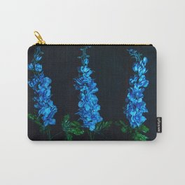 Blue Flowers on Black Carry-All Pouch