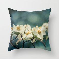 Spring Botanical -- White Dogwood Branch in Flower Throw Pillow