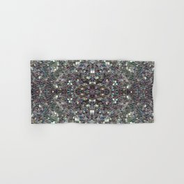 Sparkly colourful silver mosaic mandala Hand & Bath Towel