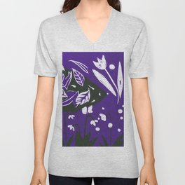 Hedgehog in autumn woods - Dark Purple Palette Unisex V-Neck