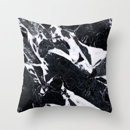 Classic Black Marble Throw Pillow