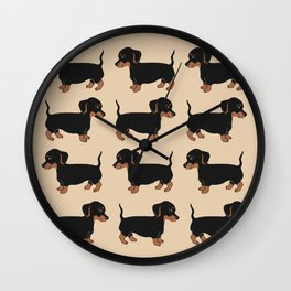 Black and Brown Dachshunds Pattern Wall Clock