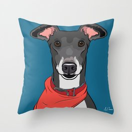Greyhound Art Poster Icon Series by Artist A.Ramos.Designed in Bold Colors Throw Pillow