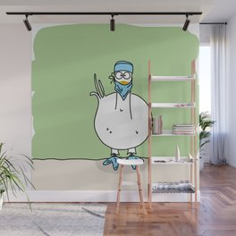 Eglantine la poule (the hen) dressed up as a surgeon Wall Mural
