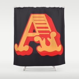 The Letter A - Retro Style Font Design by Dominic Joyce Shower Curtain