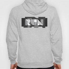 Run Geometric Typography - Black and White Hoody