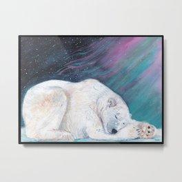 Polar bear nap time Metal Print