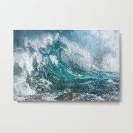 Epic Surf Impressionism Wall Art Print - Ocean Art Print, Modern Print, Beach Decor, Dorm Decor, Metal Print