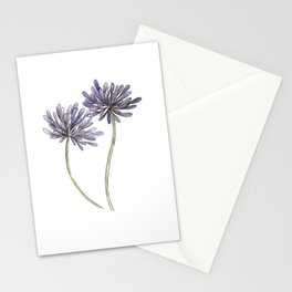 Purple Agapanthus Flower painting Stationery Cards