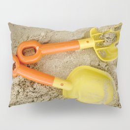 Beach Print Yellow and Orange Sand Toys Children Nursery Room Decor Pillow Sham