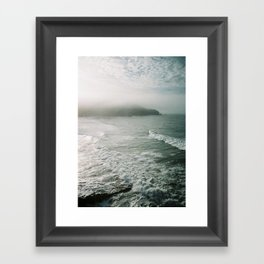 Surfers at Taylors Mistake Framed Art Print