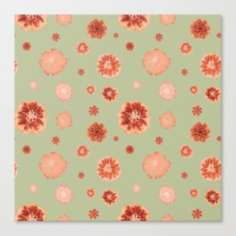 Large floral print on sage green backdrop Canvas Print